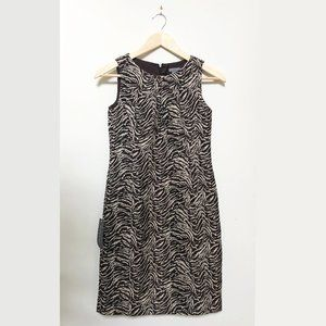 NWT Anne Taylor Sheath Dress in Brown Animal Print
